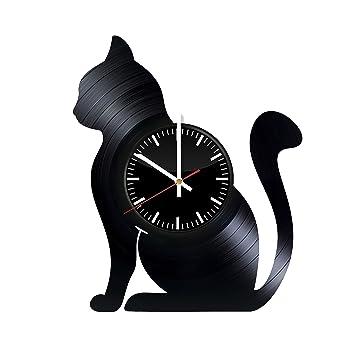 Amazon.com: Reloj de pared de vinilo con grabaciones de gato ...