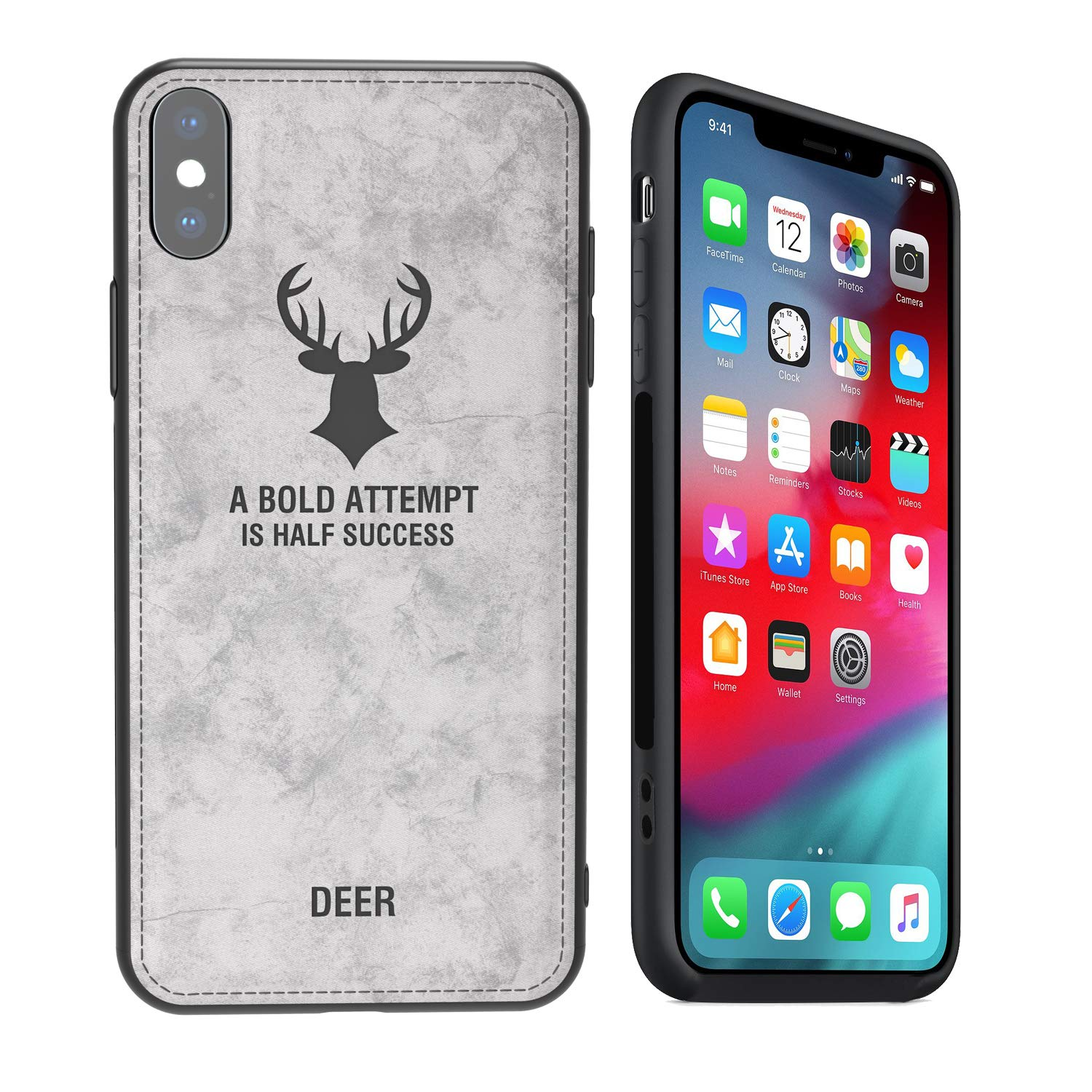 kenke iPhone Xs case,Ultra-Thin Nordic Style Retro Deer Pattern Leather case for Apple iPhone Xs Cover,Hybrid Protection Silicone Shock-Absorbent Soft ...