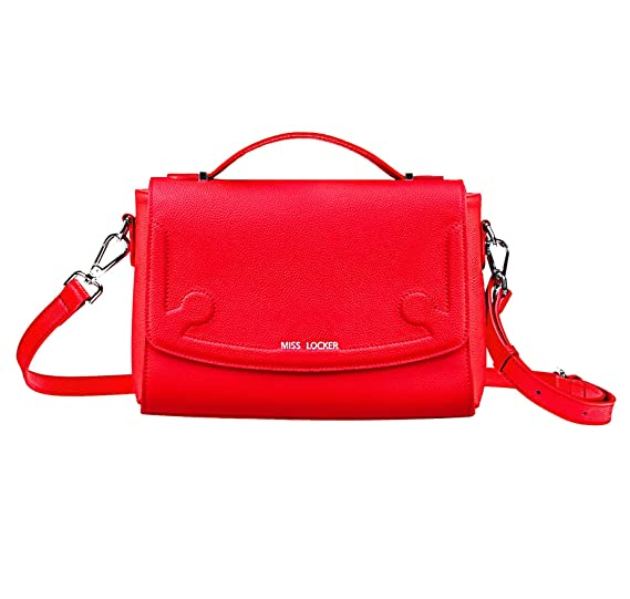 10bdb5f883 Amazon.com  Miss Locker Red Genuine Leather Cross Body Bag - Multi-Pocket -  3 Ways to Wear Handbag - Women Teen Girl Medium Messenger Satchel Shoulder  ...