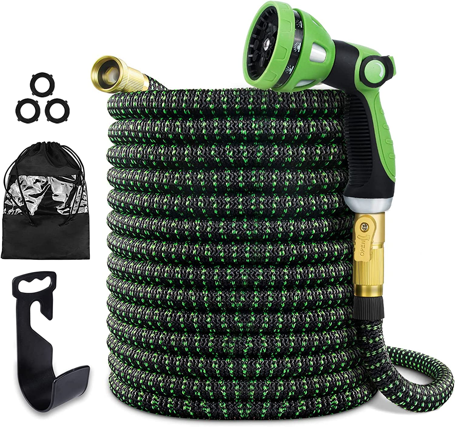 Augtarlion 50 ft Expandable Garden Hose with 10 Function Sprayer, Leak-proof Lightweight Expanding Garden Water Hose with 100% Solid Brass Fittings, Triple Latex Core Durable Flexible Garden Hose