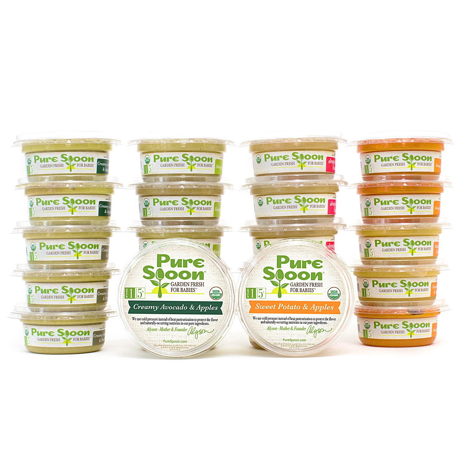 Pure Spoon Garden Fresh Organic Stage 1 Baby Food Sampler, 4.2oz (Pack Of 24)
