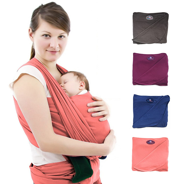 Écharpe de portage premium pour bébés et nouveau-nés | Porte-bébé écharpe de haute qualité en coton | Tissu léger pour nourrir votre bébé en toute discrétion et guide en allemand inclus pour les techniques d'attache (Bleu) Nestglück