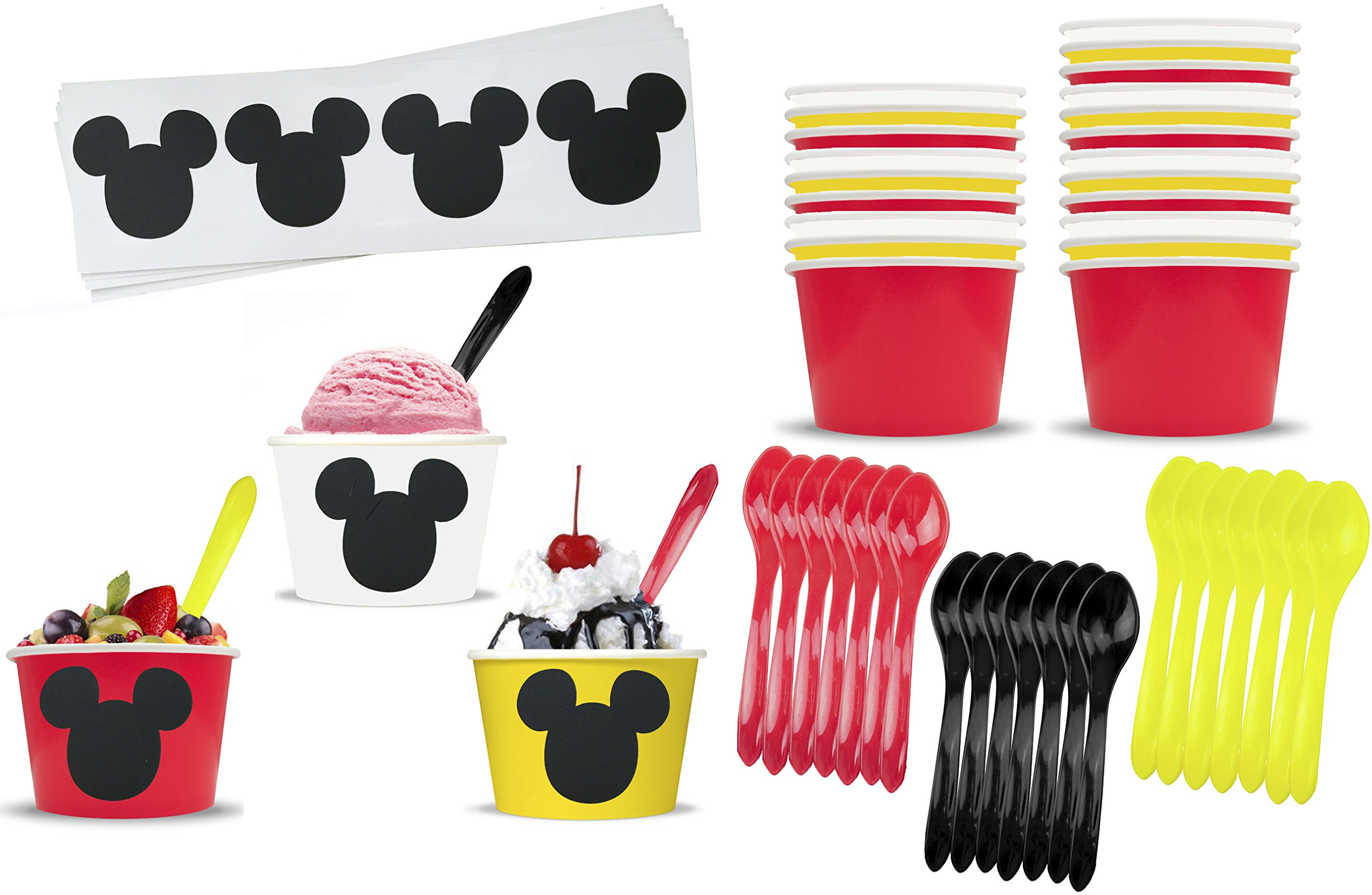 Mickey Mouse Inspired Ice Cream Party Set with 8 Ounce Cups, Plastic Spoons and Mouse Ear Chalkboard Labels 24 Each Red, Black, Yellow, White by Outside the Box Papers