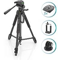 Stativ Kamerastativ für Canon und Nikon I Fotostativ für Spiegelreflexkameras Tripod mit 165cm Höhe inkl. Handy-Halterung, GoPro-Adapter, 2 Schnellwechselplatten I Farbe Schwarz