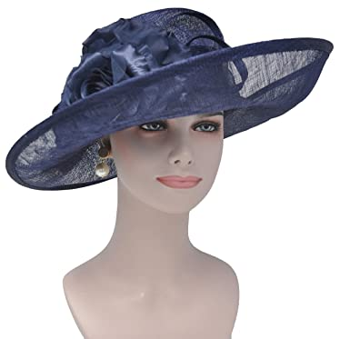 fd197c6a18029 Image Unavailable. Image not available for. Color  Large Wide Brimmed  Sinamay Hat Swirl Detail with Satin Flowers Kentucky Derby Hat