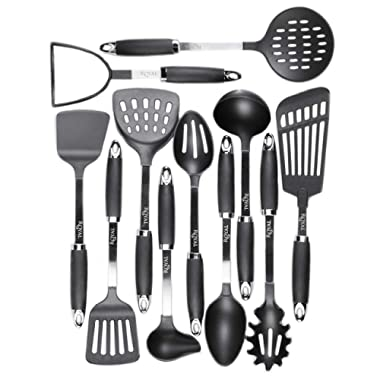 Kitchen Cooking Utensil Set - 11 Nylon Cooking Utensils - Heat Resistant & Non-Scratch, Kitchen Tools Set With Spatula - Kitchen Gadgets Cookware Set – Best Cooking Utensils Gift Set By Royaleco