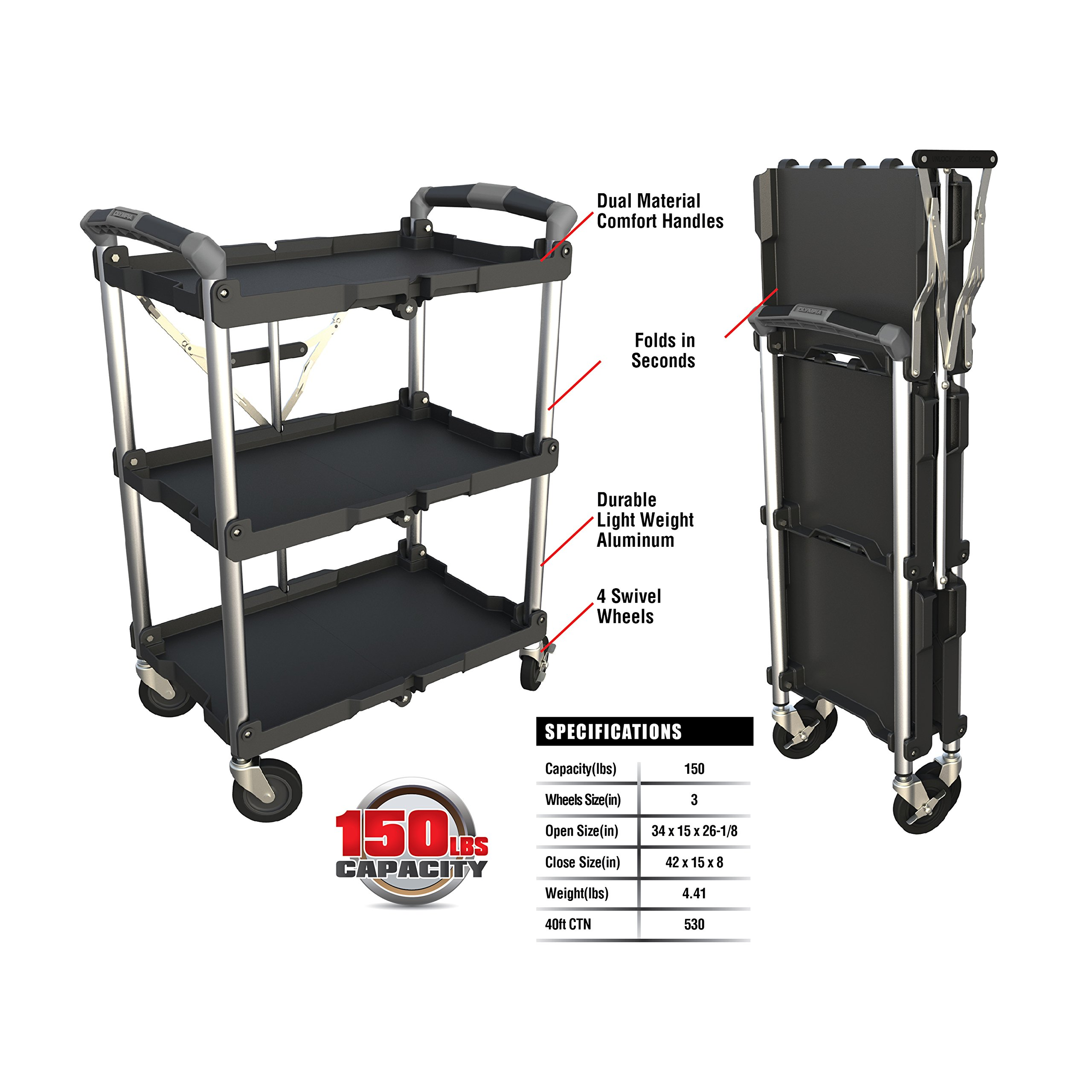 Olympia Tools 85-188 Collapsible Service Cart by Olympia Tools