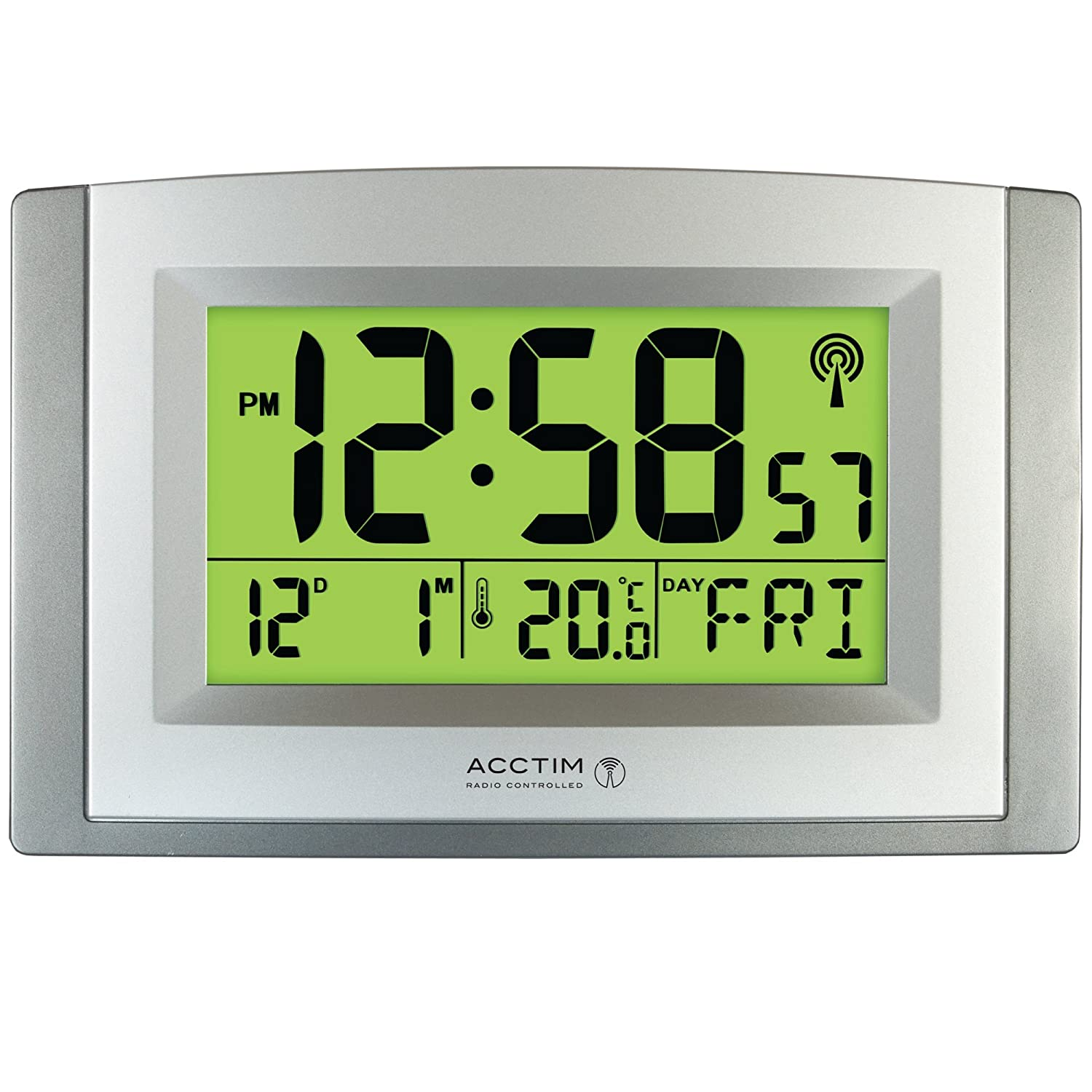 Acctim Stratus Smartlite Wall/Desk Clock, Silver CK4057 Clocks Decorative_Accessories Radio Controlled
