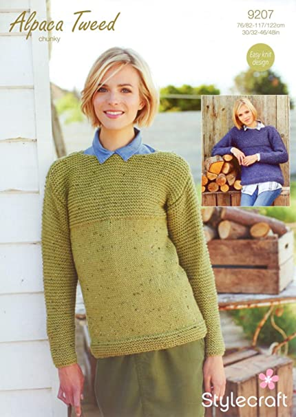 Stylecraft 9207 Knitting Pattern Ladies Jumpers In Stylecraft Alpaca