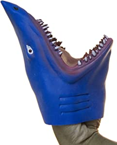 Fun Stuff Soft Rubber Realistic 6 Inch Great White Shark Hand Puppet (Blue)