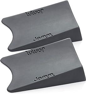 Jamm Door Stopper   Door Stop Wedge Holds Doors Open in Both Directions   Premium Non Rubber Non Slip Hardware   Standard Size   Dark Grey - 2 Pack