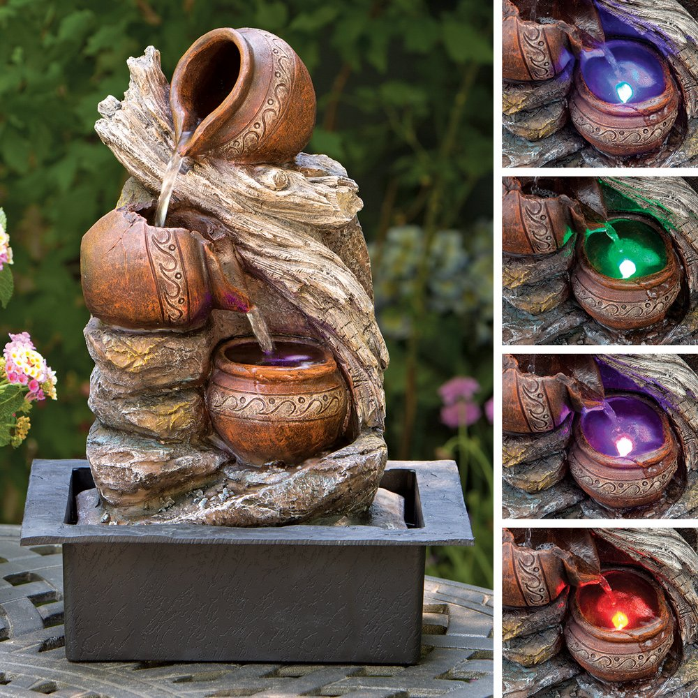 Bits and Pieces - Indoor 17 Inch Cascading LED Pottery Fountain - Zen Tabletop Water Fountain -  Illuminated Relaxation Fountain