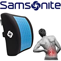 Samsonite Lumbar Support Pillow, Memory Foam with Cooling Gel Technology, Designed for Lower Back Pain Relief, Ventilated Mesh, Fits Most Vehicles, Improves Posture, Ergonomic, Washable Cover, Black