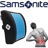 """Samsonite SA5244 Almohada ergonómica de Apoyo Lumbar Ayuda a aliviar el Dolor de Espalda Baja, Soporte Lumbar con Gel refrigerante, Gel Lumbar Support, 13.5"""" X 14"""" X 4.5"""" HxWxD"""