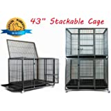 "Homey Pet 43"" Stackable or Non-Stackable Heavy Duty Cage W/ Feeding Door, Casters and Tray"