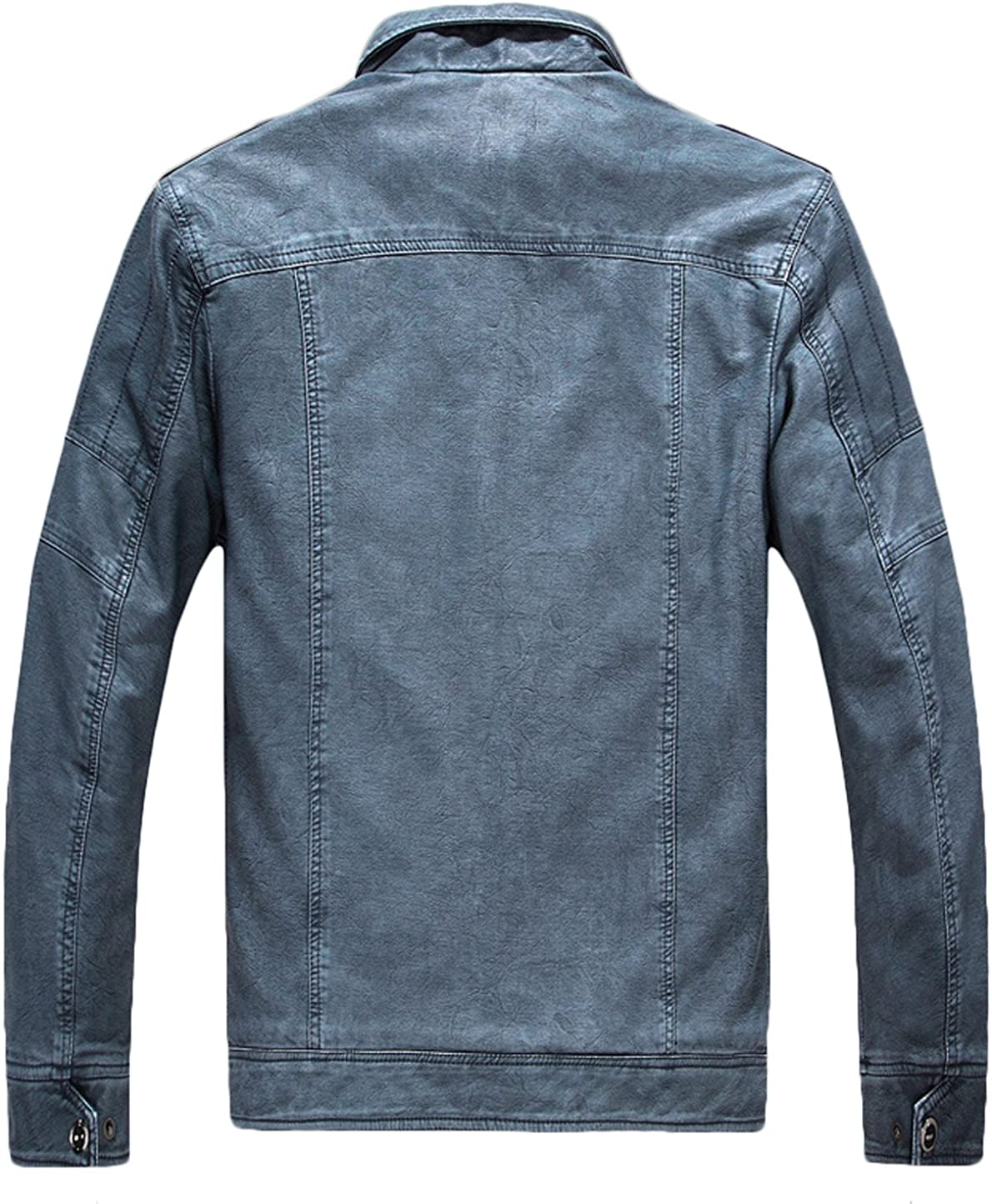 VSVO Mens Stand Collar Faux Leather Jacket
