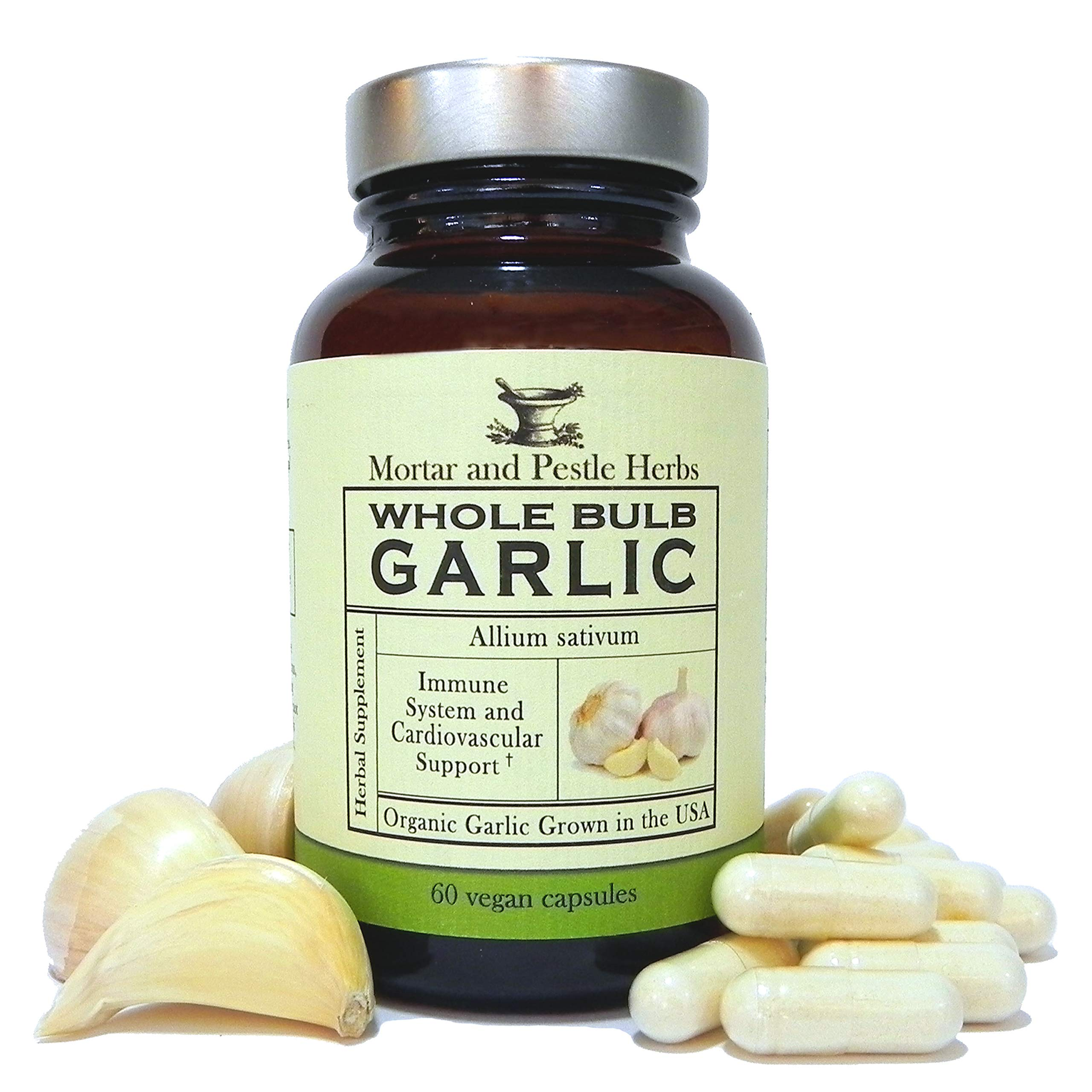 Mortar and Pestle Herbs Organic Whole Bulb Garlic Supplement Pills - Potent Extra Strength - Immune Support - 600 mg, 60 capsules - Made in the USA