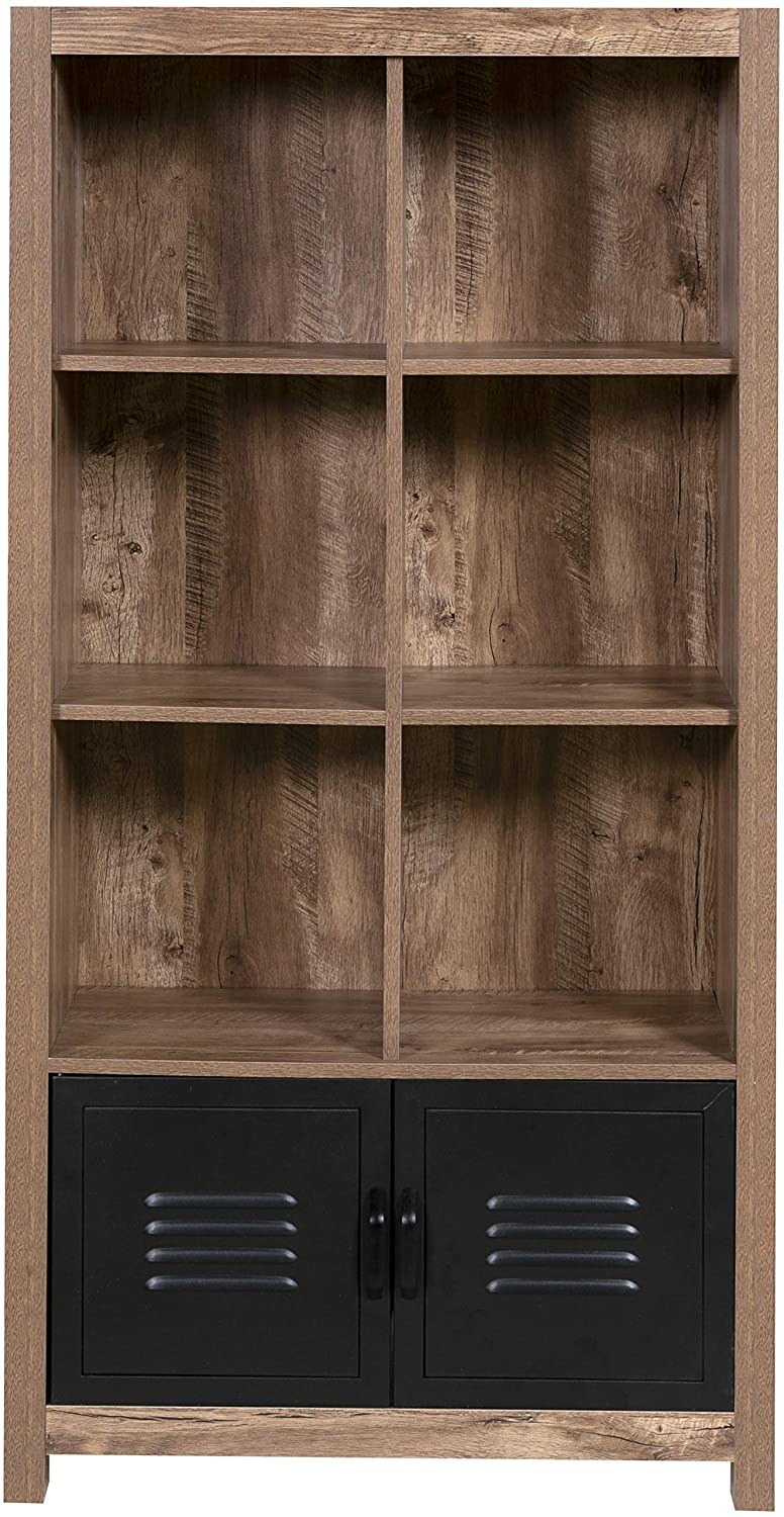 OneSpace 50-JN23BK8 Norwood Range Locker Bookshelf, Oak