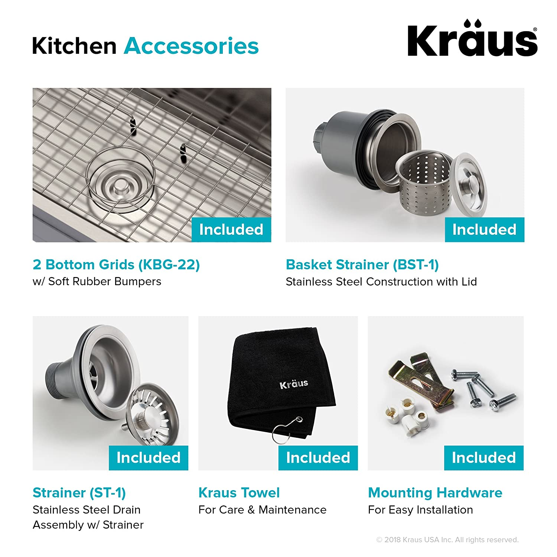 b893cee397 32 16 Gauge Kraus Outlast MicroShield Scratch-Resist Stainless Steel  Undermount 50/50 Double Bowl Sink Premier ...