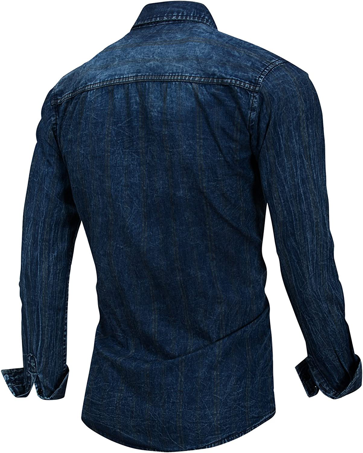 Mens Button-Down Collar Long Sleeve Jeans Blue Cotton Classical Style Casual Dress Shirts