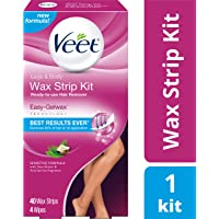 Veet, Wax Strips with Easy Gelwax, Hair Removal, Remove the Shortest Hairs, Sensitive Formula, Legs & Body, 40 Count (Packaging may Vary)