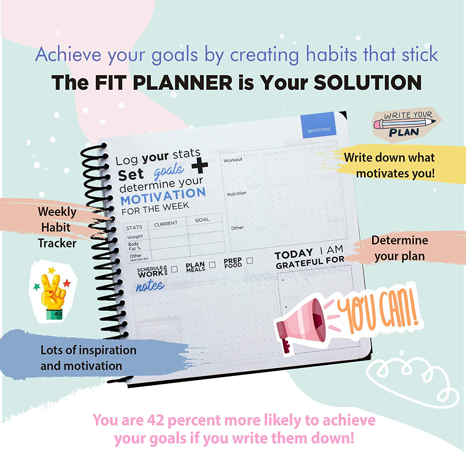 FITIME Fit Planner: Fitness Journal and Planner for Workouts, Weight Loss, Exercise & Meal prep.(Pink) : Sports & Outdoors