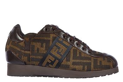4b549c7b383 FENDI Chaussures Baskets Sneakers Femme en Cuir Zucca  Amazon.fr ...