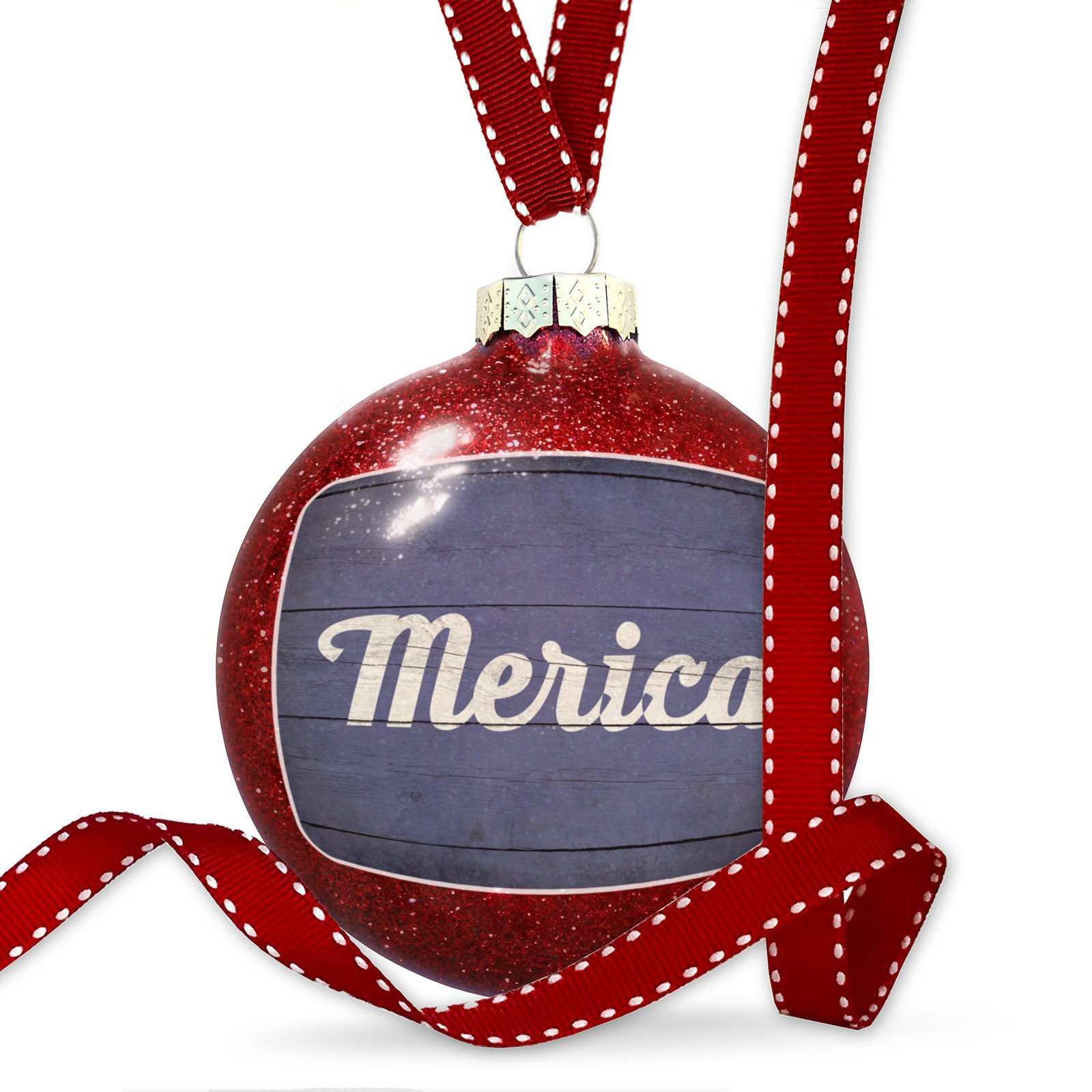 Christmas Decoration Merica Fourth of July Blue and White Wood Planks Ornament