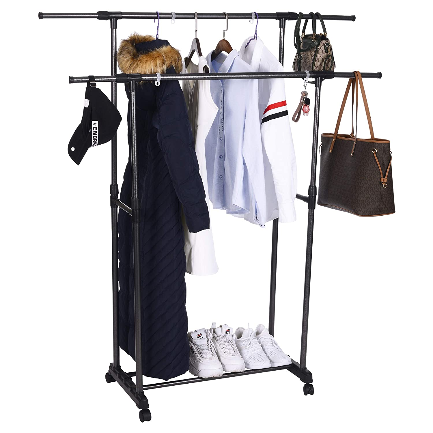 OBOR Clothes Garment Rack with Wheels 2 Tier Double Rods Height Adjustable