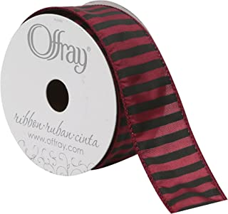 "product image for Offray Wired Edge Bold Stripe Ribbon, 1-1/2"" Wide, 10 Yards, Burgundy/Black"