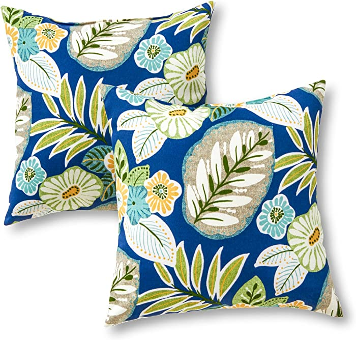 Greendale Home Fashions AZ4803S2-MARLOW Magnolia Floral Outdoor 17-inch Square Throw Pillow (Set of 2)