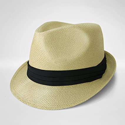 Amazon.com  KHAKI Straw Fedora Hat Trilby Cuban Cap Summer Beach Sun ... f9a2d8497ae
