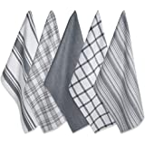 DII Cotton Luxury Assorted Kitchen Dish Towels, 18 x 28 Set of 5, Ultra Absorbent Fast Dry, Professional Grade Tea Towels for Everyday Cooking and Baking-Gray