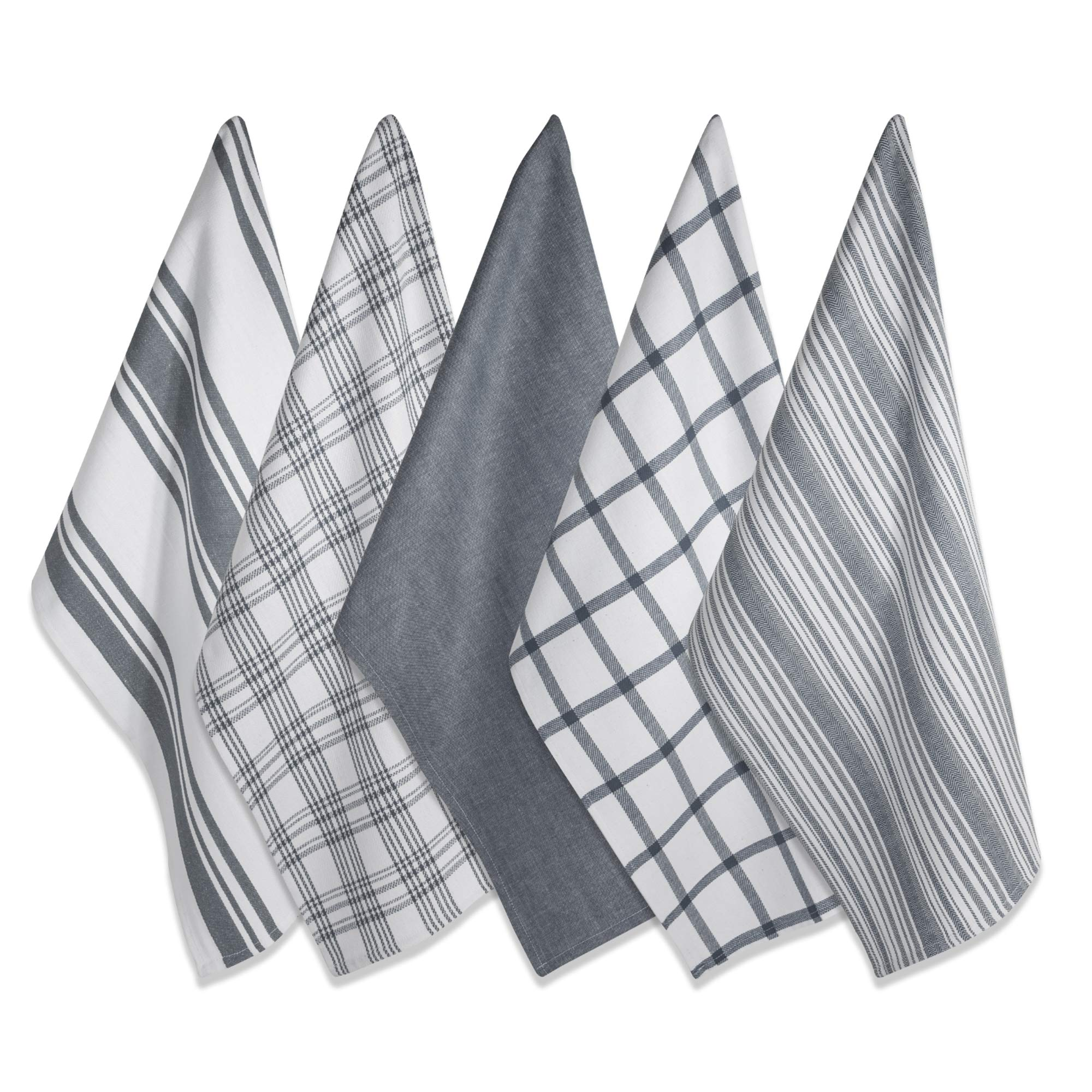 DII Kitchen Dish Towels (Gray, 18x28''), Ultra Absorbent & Fast Drying, Professional Grade Cotton Tea Towels for Everyday Cooking and Baking -  Assorted Patterns, Set of 5 by DII