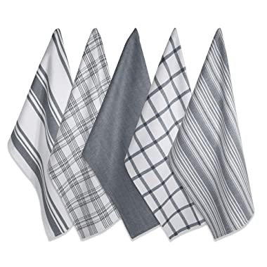 DII Kitchen Dish Towels (Gray, 18x28 ), Ultra Absorbent & Fast Drying, Professional Grade Cotton Tea Towels for Everyday Cooking and Baking -  Assorted Patterns, Set of 5