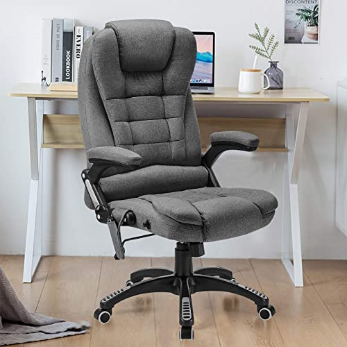 Ergonomic Massage Office Chair-High Back Fabric Heating Vibration Massage Executive Chair
