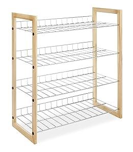 Whitmor 4 Tier Closet Shelf - Storage Organizer - Natural Wood and Chrome