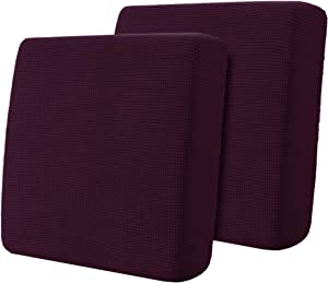 Hokway Jacquard Cushion Covers Couch Cushion Slipcover Sofa Seat Slipcovers Furniture Protector(Mulberry,2)