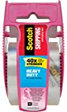 "Scotch Heavy Duty Shipping Packaging Tape, 1"" Core, 1.88"" x 22.2 yd, Pink Dispenser (142-PC)"