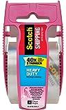 "Scotch Heavy Duty Shipping Packaging Tape, 1.5"" Core, 1.88"" x 22.2 yd, Pink Dispenser (142-PC)"
