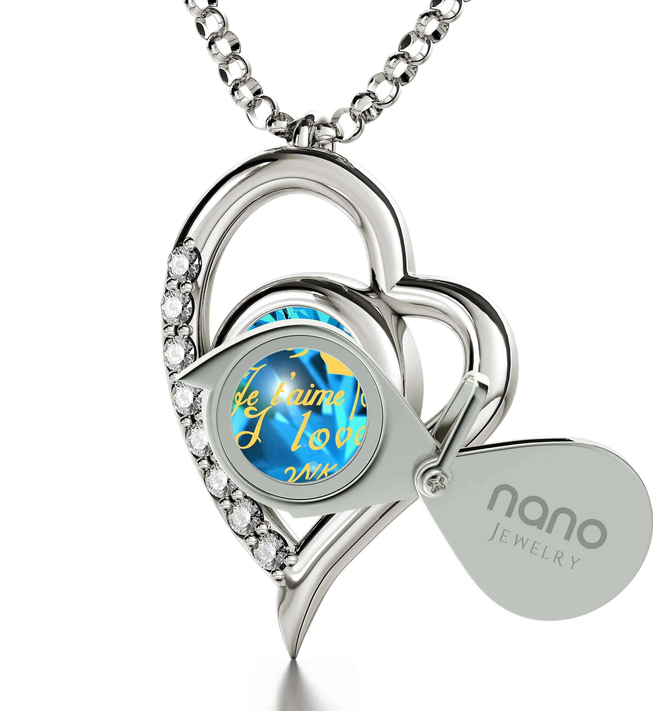 925 Sterling Silver Heart Pendant Necklace I Love You 12 Languages 24k Gold Inscribed Blue Crystal, 18'' by Nano Jewelry (Image #2)