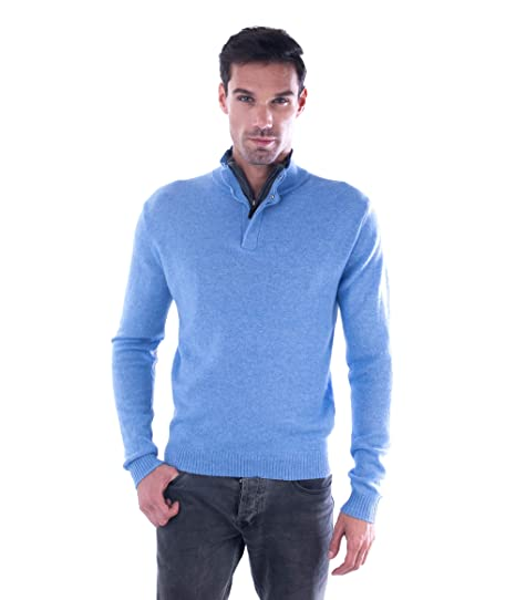 dc7be66bcd4 cashmere 4 U Men's 100% Pure Cashmere Pullover Half Zip Mock Neck Sweater