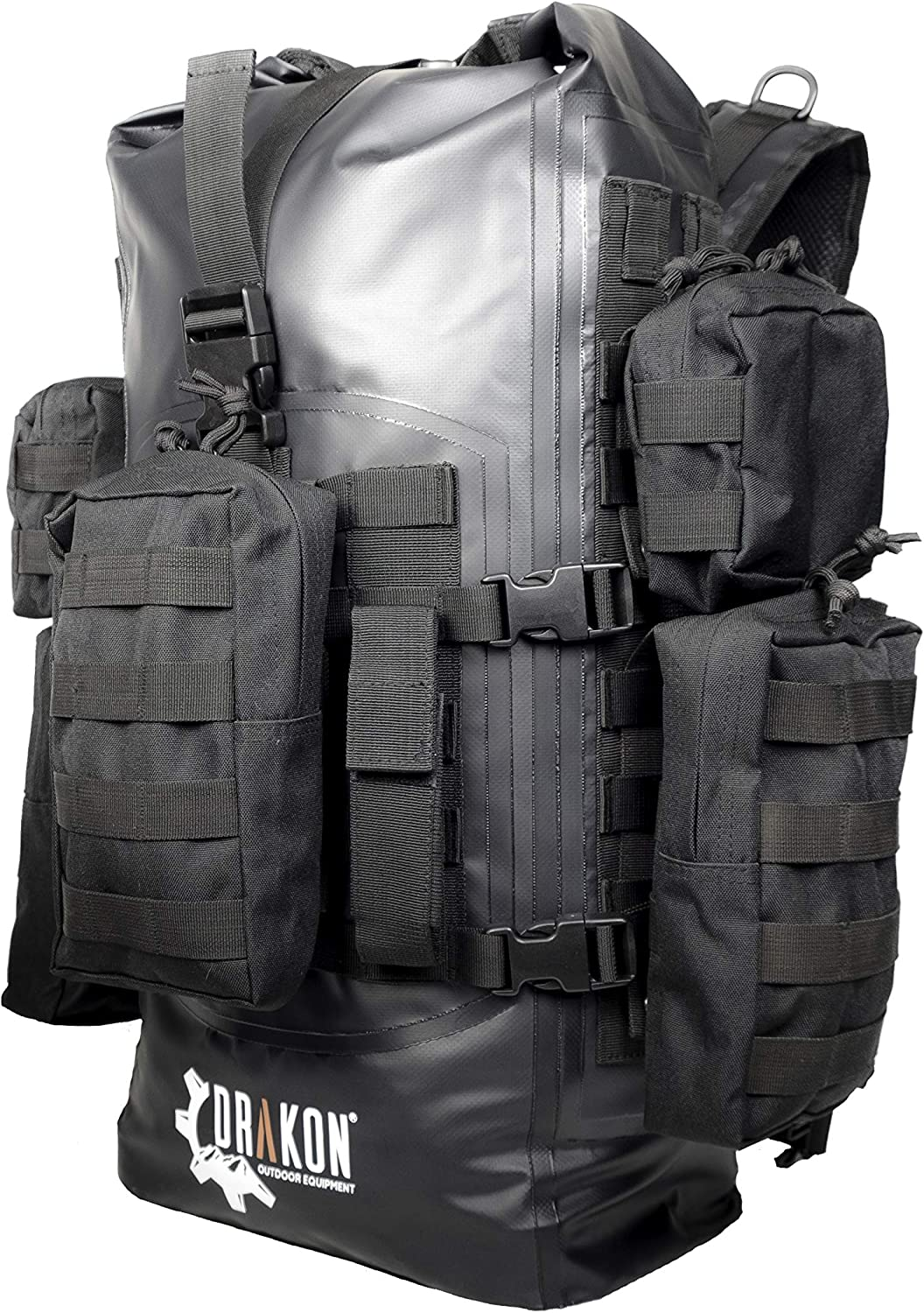 Amazon.com: Drakon Outdoors 40L Waterproof Dry Bag Survival Backpack - Roll  Top Go-Bag Perfect for Hunting, Camping, Boating, Kayaking - Black Padded  Adjustable Straps With MOLLE System