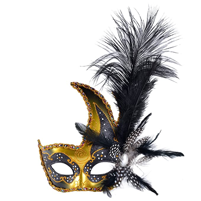 Amazon.com: Venetian Masquerade Masks Mardi Gras Costume With Feather  Flowers: Clothing