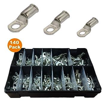 140 x Surtido de cable de la batería de cobre terminales Crimp o soldadura/poste de pernos y agujeros: Amazon.es: Coche y moto