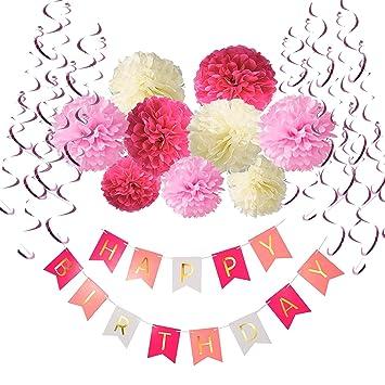 """Pompon a Fiore SIMUER Decorazione Festa di Compleanno Bimba,Bandierine di Buon Compleanno /""""Happy Birthday/"""" Gold Rosa Bianco Nappe di Carta"""