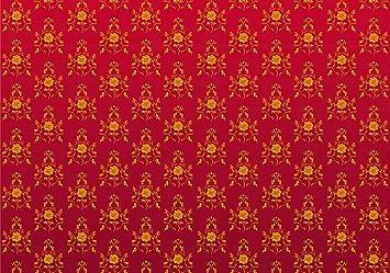 vliestapete barock rot muster 400cm x 280cm fototapete tapete wanddeko tapete wandbild - Tapete Rot Muster