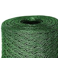 Grillage a poule casa pura® | cloture poulailler jardin voliere | vert finition PVC | triple torsion, maille fine hexagonal 13x13mm - 1m x 25m (HxL)
