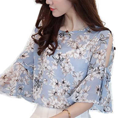 cacea12d3ef2 OUXIANGJU Women New Floral Printed Chiffon Shirts Open Shoulder Blouses  Plus Size Tops at Amazon Women s Clothing store