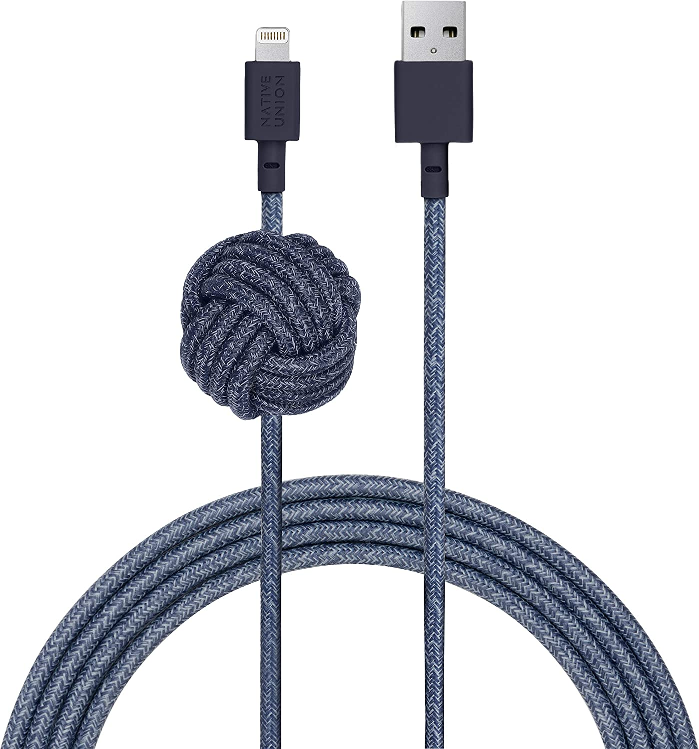 NATIVE UNION Night Cable USB-A to Lightning - 10ft Ultra-Strong Durable Lightning to USB Charging Cable with Weighted Knot [Apple MFi Certified] for iPhone/iPad (Indigo)